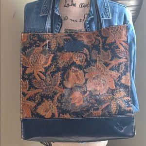 EUC Patricia Nash Leather Floral Multi Color Tote